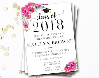 Floral Graduation Invitation, Class of 2018, Flower Graduation Invitation, Floral Graduation Announcement, Graduation Cap