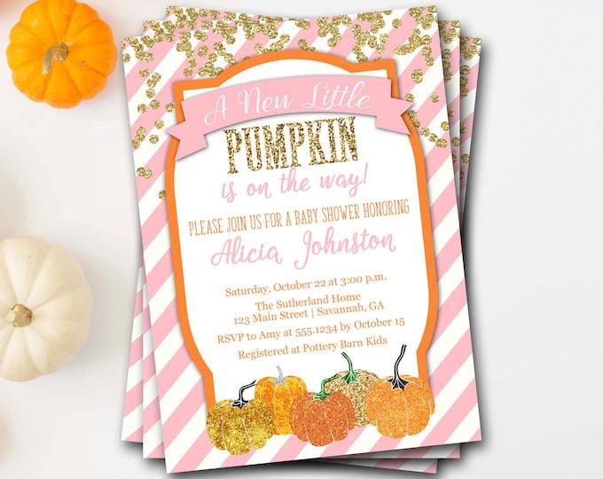 Pumpkin Baby Shower Invitation, Fall Baby Shower Invitation, Glitter Pumpkin Baby Shower, Pumpkin Shower Invite, A Little Pumpkin