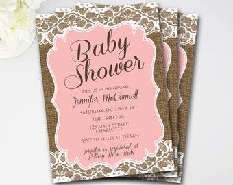 Lace Burlap Baby Shower Invitation, Rustic Baby Shower Invitation, Pink Baby Shower Invitation, Rustic Shower Invite, DIY Printable