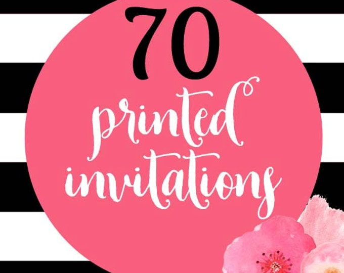 70 Printed Invitations With Envelopes