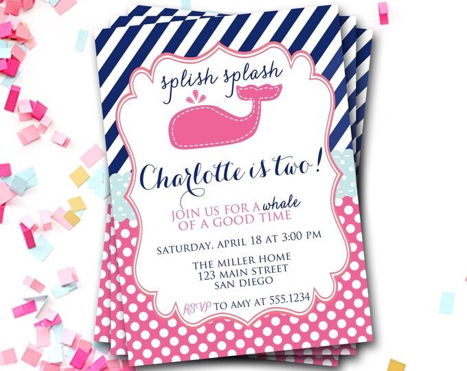Whale Birthday Invitation, Pink Whale Birthday Invitation, Under The Sea, Ocean Birthday Invitation, Nautical Invitation, Pink Whale Invite