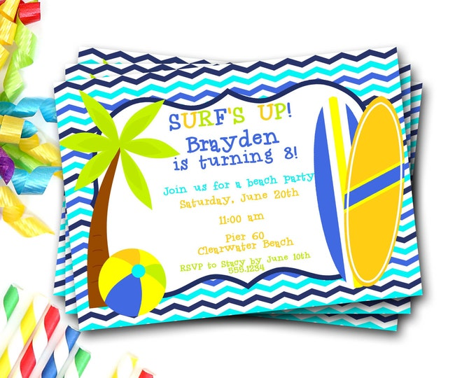 Beach Party Invitation, Beach Invite, Beach Birthday Party, Pool Party, Surfboard Invitation, Surfer Boy Invitation, DIY Printable