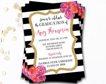 Floral Graduation Invitation, Floral Graduation Announcement, Floral Graduation Party Invitation, Glitter Graduation Invitation