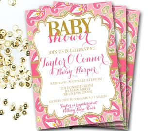 Pink And Gold Baby Shower Invitation, Pink And Gold Invitation, Pink And Gold Shower, Pink And Gold Baby Sprinkle Invitation, Girl Baby