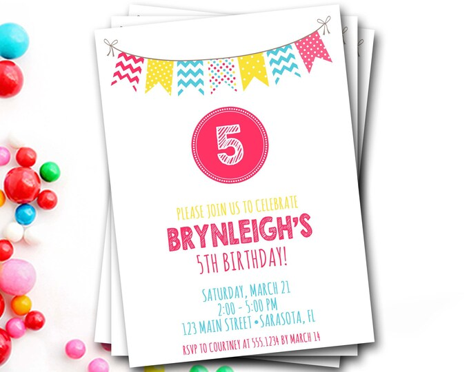 Bunting Birthday Invitation, Colorful Birthday Invitation, Banner Invite, Colorful Invite, Girl Birthday, DIY Printable
