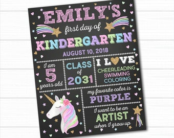 Unicorn First Day Of School Sign, Back To School Sign, First Day Of School Chalkboard, 1st Day Of School Sign, Photo Prop, Preschool Sign