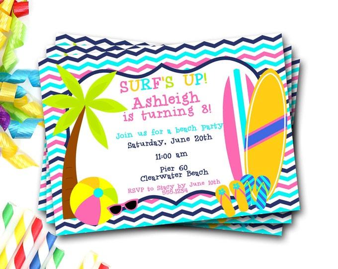 Beach Birthday Invitation, Beach Party, Beach Invite, Beach Birthday Party, Surfboard Invitation, Surfer Girl Invitation, DIY Printable