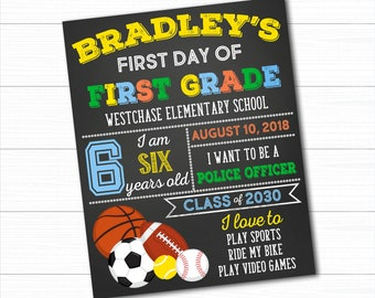 Sports First Day Of School Sign, Back To School Sign, First Day Of School Chalkboard, 1st Day Of School Sign, Boy First Day of School Sign