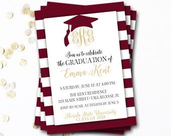 Monogram Graduation Invitation, Garnet Graduation Invitation, Garnet and Gold Graduation, Maroon Graduation, Graduation Announcement