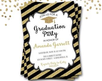 Black and Gold Graduation Invitation, Gold Graduation Invitation, Black and Gold Graduation Invite, Glitter Graduation Invitation