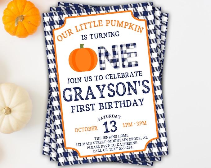 Pumpkin Birthday Invitation, Pumpkin First Birthday Invitation, Fall Birthday, Boy Pumpkin Birthday, Pumpkin Invitation, Buffalo Plaid