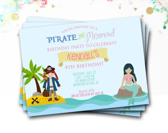 Mermaid Pirate Birthday Invitation, Mermaid And Pirate Birthday, Pirate Invitation, Mermaid Invitation, Girl Birthday, DIY Printable