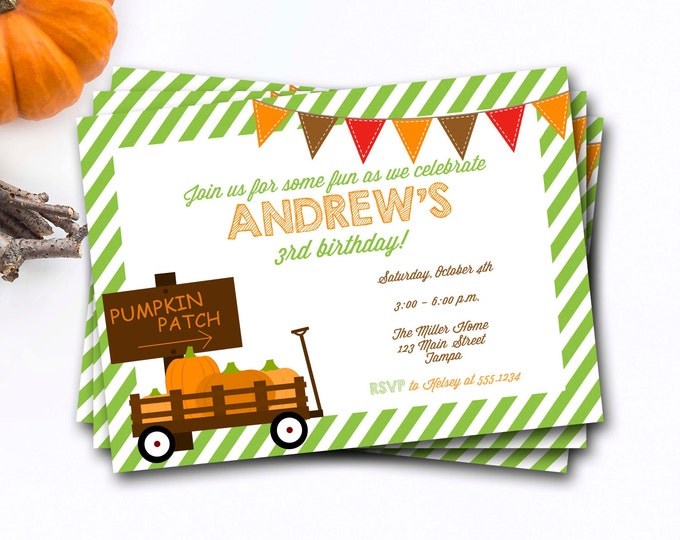Pumpkin Patch Birthday Invitation, Pumpkin Birthday Invitation, Fall Birthday Invitation, Pumpkin Birthday Invite, Pumpkin Invitation