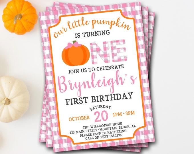 Pumpkin Birthday Invitation, Pumpkin First Birthday Invitation, Fall Birthday, Girl Pumpkin Birthday, Pumpkin Invitation, Buffalo Plaid