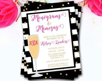 Monograms And Mimosas Bridal Shower Invitation, Monograms And Mimosas Invitation, Brunch And Bubbly, Monogram Bridal Shower Invitation