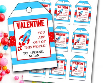 Valentine's Day Tag, Boy Valentine's Day Tag, Rocket Valentine's Tag, Personalized Valentine's Tag, Party Favor Tags, DIY Printable