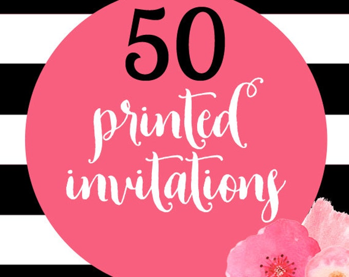 50 Printed Invitations With Envelopes