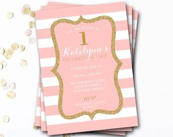 Pink And Gold Birthday Invitation, Pink And Gold Invite, Glitter Invitation, First Birthday, Girl Birthday, DIY Printable