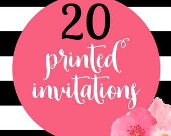 20 Printed Invitations With Envelopes