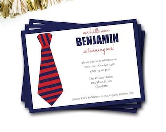 Tie Birthday Invitation, Little Man Birthday Invitation, Little Man Invitation, Navy And Red, First Birthday, Boy Invitation, DIY Printable