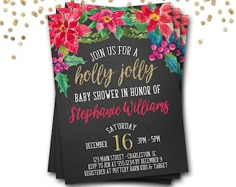 Holly Jolly Baby Shower Invitation, Christmas Baby Shower Invitation, Winter Baby Shower, Christmas Invitation, DIY Printable