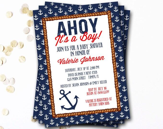 Nautical Baby Shower Invitation, Nautical Boy Baby Shower, Ahoy It's A Boy, Preppy Baby Shower Invitation, Anchor Baby Shower Invitation