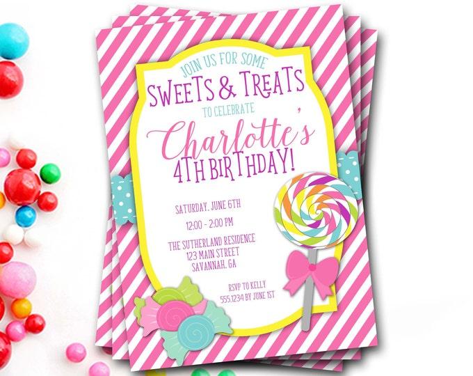Lollipop Birthday Invitation, Candy Birthday Invitation, Candy Shoppe, Sweets And Treats, Lollipop Invitation, Girl Birthday Invitation