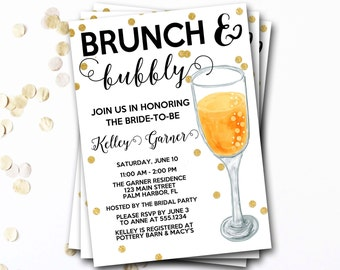 Brunch And Bubbly Bridal Shower Invitation, Brunch And Bubbly Invitation, Mimosas Bridal Shower Invitation, Glitter Invite, DIY Printable