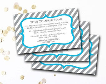 Mini Facial Card, Customized Mini Facial Card, Personalized Mini Facial Card, Blue And Gray Stripe Mini Facial Card, DIY Printable