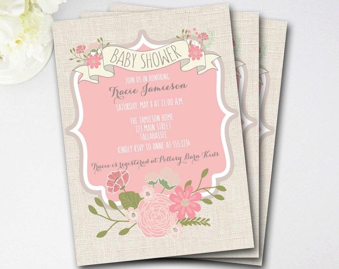 Rustic Baby Shower Invitation, Flower Baby Shower Inviation, Girl Baby Shower, Rustic Invitation, Flower Invitation, DIY Printable