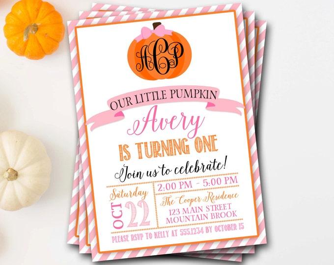 Pumpkin Birthday Invitation, Monogram Pumpkin Birthday Invitation, Fall Birthday, Girl Pumpkin Invite, Pumpkin First Birthday, Pink Pumpkin