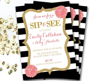 Sip and See Invitation, Pink Black And White Baby Shower Invitation, Pink And Black Baby Shower, Pink And Gold Baby Shower, DIY Printable