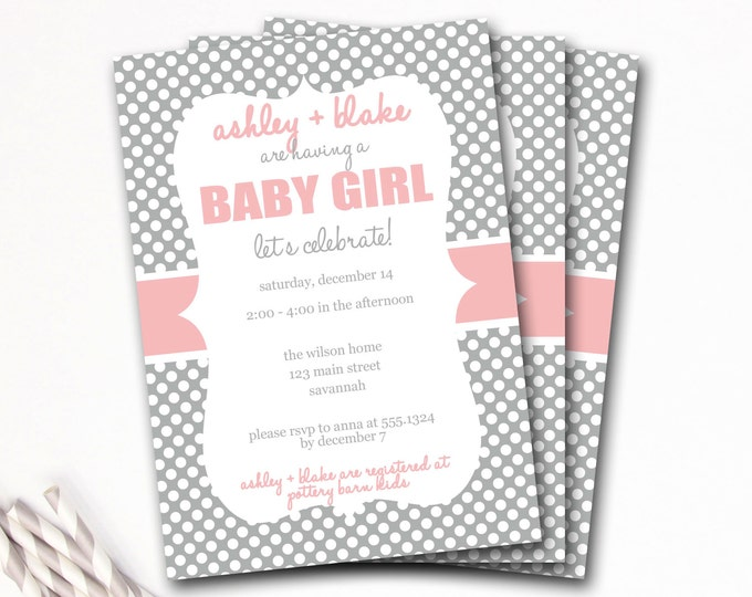 Pink And Gray Baby Shower Invitation, Pink And Gray Shower Invitation, Preppy Baby Shower Invitation, Girl Baby Shower, DIY Printable