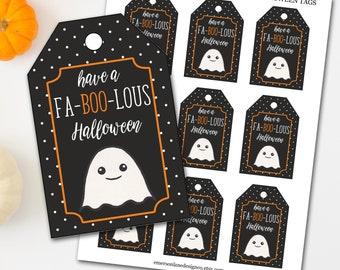 Halloween Tags, Halloween Treat Tags, Ghost Halloween Tags, Fa-BOO-Lous Halloween Tags, Trick or Treat Tags, Halloween Favor Tags