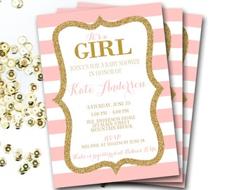 Pink And Gold Baby Shower Invitation, Pink And Gold Shower, Pink And Gold Invitation, Glitter Invitation, Pink And Gold Invite,DIY Printable