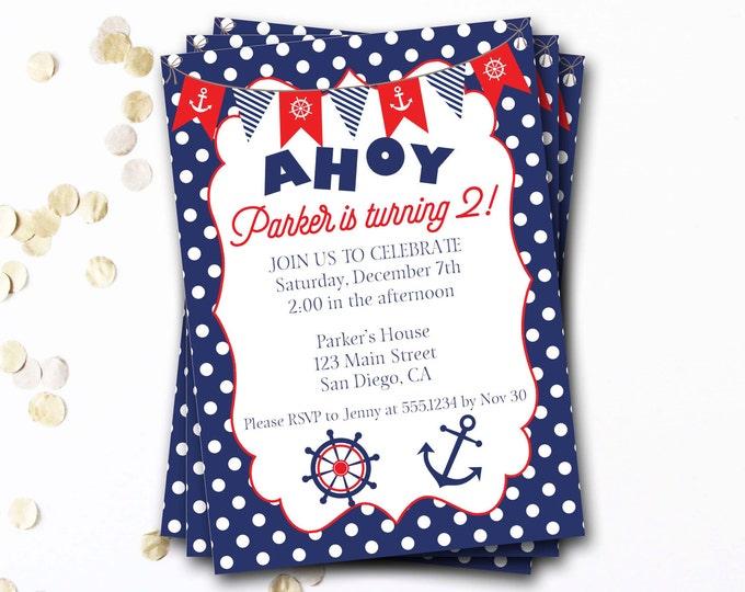 Nautical Birthday Invitation, Nautical Invite, Anchor Invitation, Nautical Party, Navy And Red Invitation, Preppy Invitation, DIY Printable