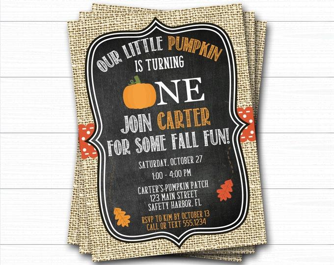 Pumpkin Birthday Invitation, Pumpkin First Birthday Invitation, Fall Birthday, Pumpkin Patch Birthday Invitation, Our Little Pumpkin