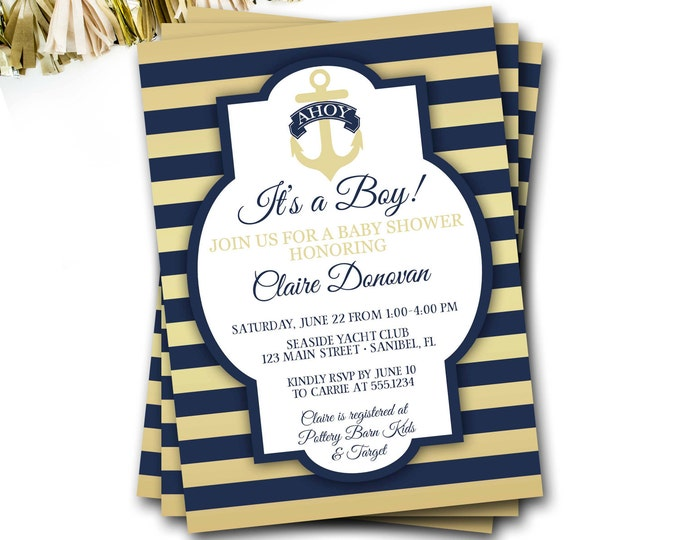 Nautical Baby Shower Invitation, Navy And Gold Nautical Baby Shower, Preppy Baby Shower Invitation, Anchor Baby Shower Invitation