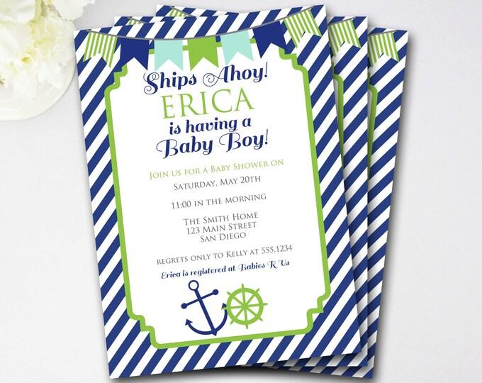 Nautical Baby Shower Invitation, Nautical Shower Invitation, Nautical Invitation, Anchor Invitation, DIY Printable