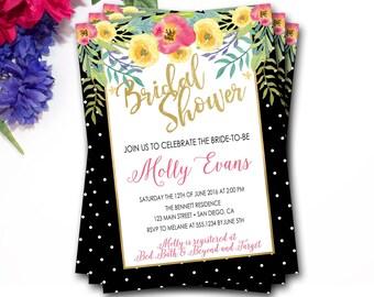 Tropical Floral Bridal Shower Invitation, Flower Bridal Shower Invitation, Tropical Bridal Shower Invitation, Watercolor Floral Invitation