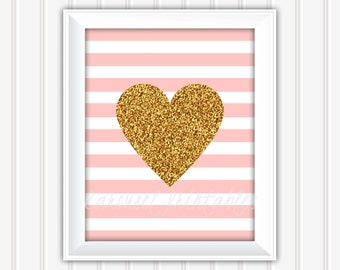 Gold Glitter Heart Wall Art, Pink And Gold Wall Art, Printable Wall Art, Instant Download, Kids Wall Art, Nursery Wall Art, DIY Wall Art