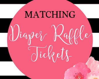 Baby Shower Diaper Raffle Tickets, Printable Diaper Raffle Tickets, DIY Printable, Made to Match Any Invitation in Shop