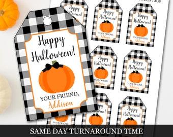 Halloween Tags, Halloween Treat Tags, Pumpkin Halloween Tags, Buffalo Plaid Halloween Tags, Trick or Treat Tags, Halloween Goodie Bag Tags