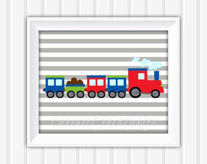 Train Wall Art, Transportation Wall Art, Train Decor, Instant Download, Childrens Wall Art, Kids Wall Art, Nursery Wall Art, DIY Wall Art