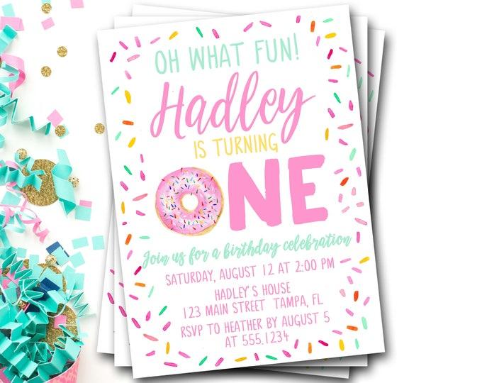 Donut Birthday Invitation, Donut First Birthday, Doughnut Birthday Invitation, Pink Donut Invitation, Donut Party, Donut Invite, Girl Donut
