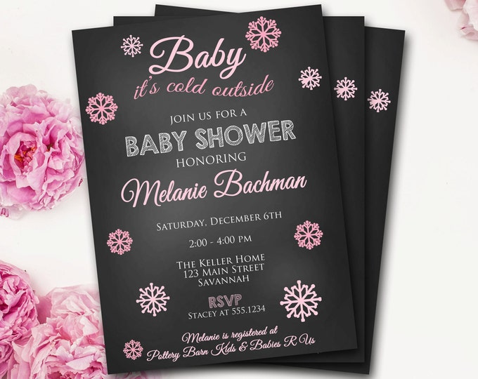 Winter Baby Shower Invitation, Snowflake Baby Shower, Baby It's Cold Outside, Chalkboard Baby Shower Invitation, DIY Printable