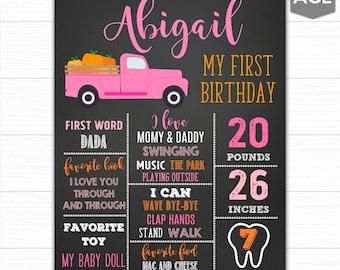 First Birthday Chalkboard Sign, Pumpkin First Birthday Chalkboard Sign, First Birthday Sign, First Birthday Poster, Birthday Stats Poster