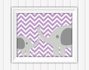Elephant Wall Art, Purple and Gray Art, Printable Wall Art,Instant Download,Childrens Wall Art,Kids Wall Art, Nursery Wall Art, DIY Wall Art
