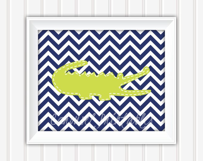 Alligator Wall Art, Lime and Navy, Chevron Wall Art, Printable Wall Art, Instant Download, Kids Wall Art, Nursery Wall Art, DIY Wall Art