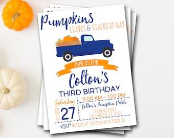 Pumpkin Birthday Invitation, Pumpkin First Birthday Invitation, Boy Pumpkin Truck Birthday Invitation, Fall Birthday, Blue Pumpkin